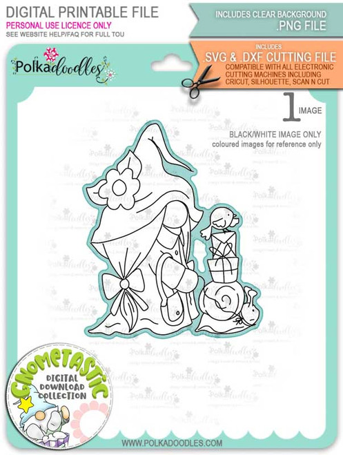 Gnometastic Snails Pace - digital stamp printable download with free SVG /DXF file included