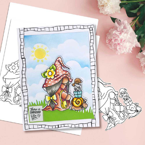 DLPD8353B Gnometastic Snails Pace - digital stamp printable download with free SVG DXF file