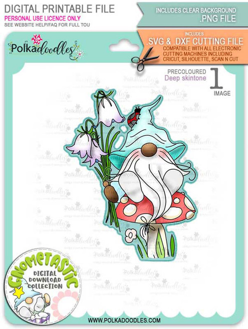 Gnometastic Bluebells - deep skin PRECOLOURED digital stamp printable download with free SVG /DXF file included