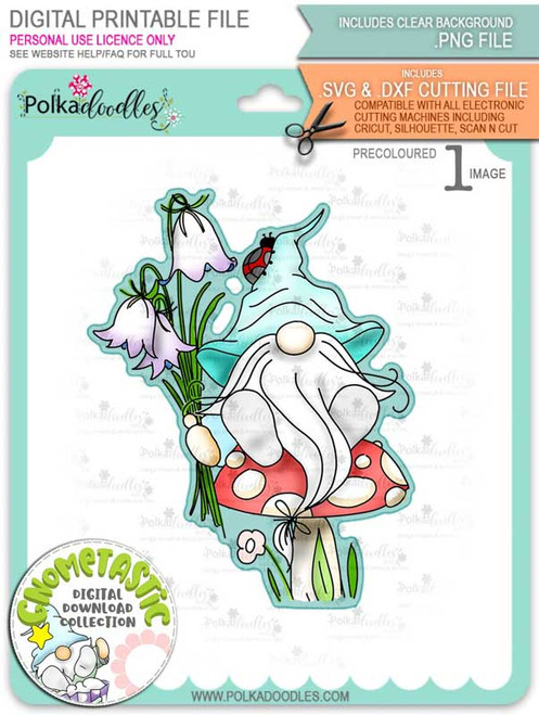 Gnometastic Bluebells - light skin PRECOLOURED digital stamp printable download with free SVG /DXF file included