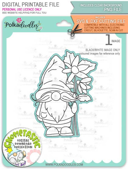 Gnometastic Sunny - digital stamp printable download with free SVG /DXF file included