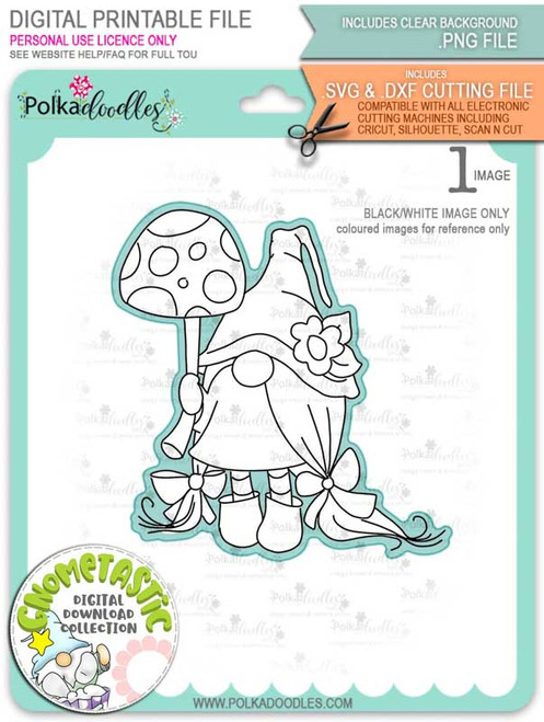 Gnometastic Just in Case - digital stamp printable download with free SVG /DXF file included