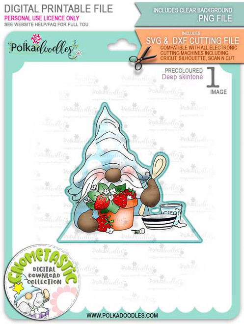 Gnometastic Strawberry Dream - deep skin PRECOLOURED digital stamp printable download with free SVG /DXF file included