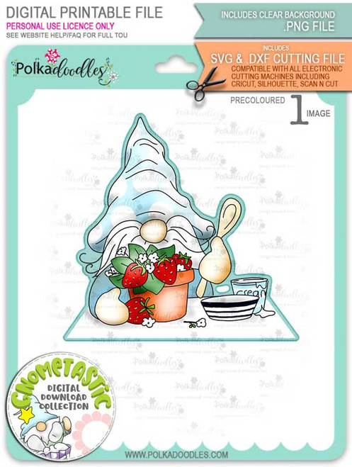 Gnometastic Strawberry Dream - light skin PRECOLOURED digital stamp printable download with free SVG /DXF file included