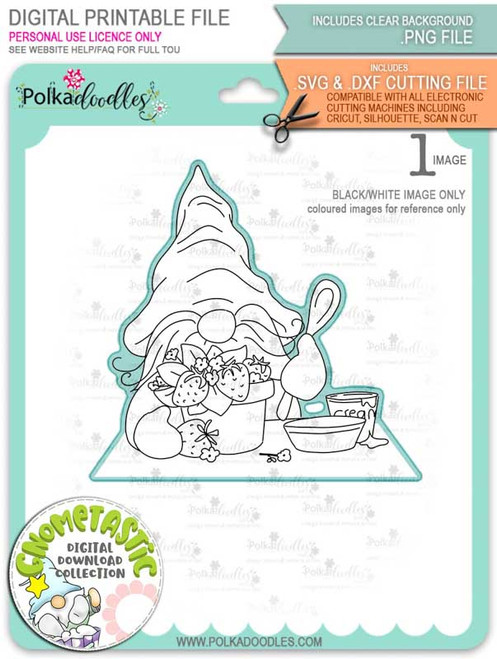Gnometastic Strawberry Dream - digital stamp printable download with free SVG /DXF file included