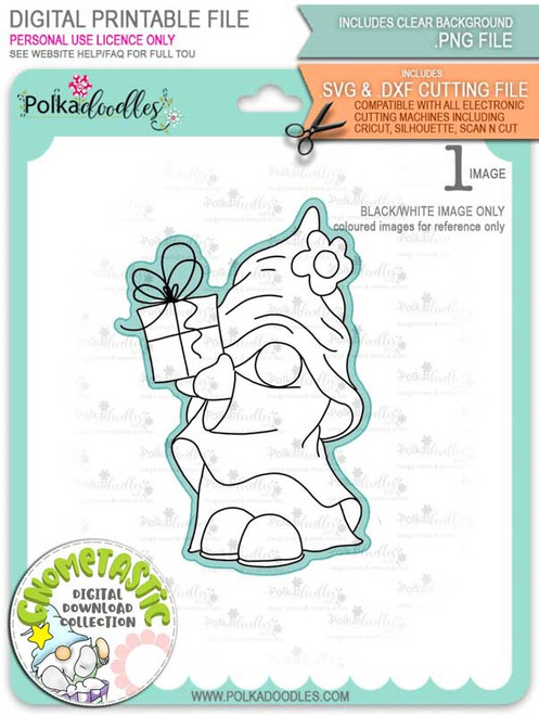 Gnometastic Birthday Gift - digital stamp printable download with free SVG /DXF file included