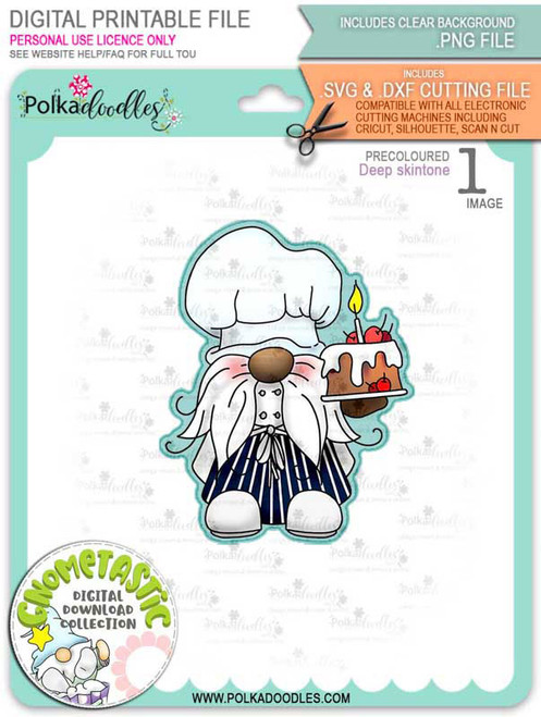 Gnometastic Birthday Cake - deep skin PRECOLOURED digital stamp printable download with free SVG /DXF file included