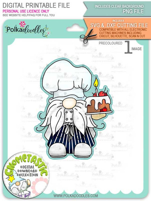 Gnometastic Birthday Cake - light skin PRECOLOURED digital stamp printable download with free SVG /DXF file included