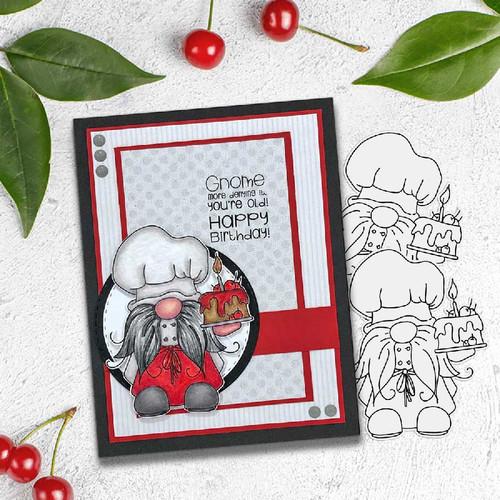 Gnometastic Birthday Cake - digital stamp printable download with free SVG /DXF file DLPD8359B