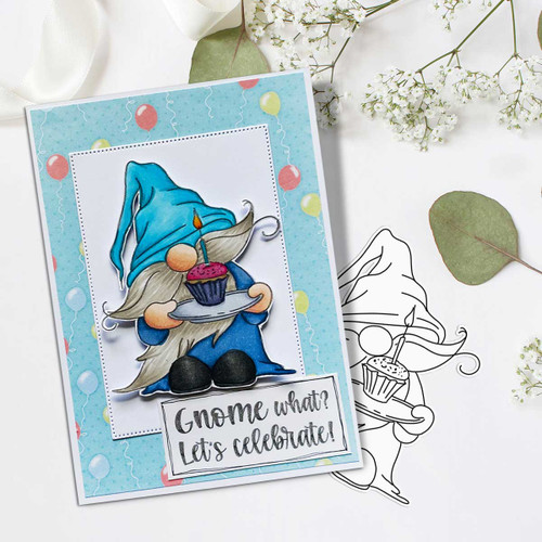 Gnometastic Happy Birthday - digital stamp printable download with free SVG /DXF file included