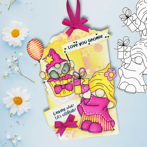 Gnometastic Birthday Surprise - deep skin PRECOLOURED digital stamp printable download with free SVG /DXF file included