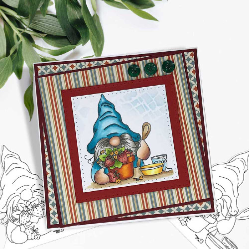 Gnome-tastic collection -  10 deep skintone PRECOLOURED digital stamp printable download with free SVG /DXF file included
