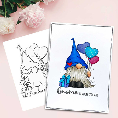 Gnome-tastic - 10 Digital Stamps & 10 deep skin PRECOLOURED printable downloads with free SVG /DXF files