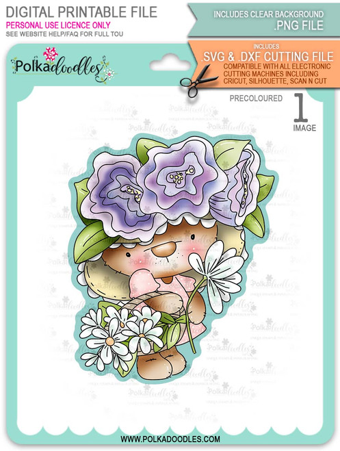 Bella Bear Easter Bonnet - PRECOLOURED printable downloads with free SVG /DXF files
