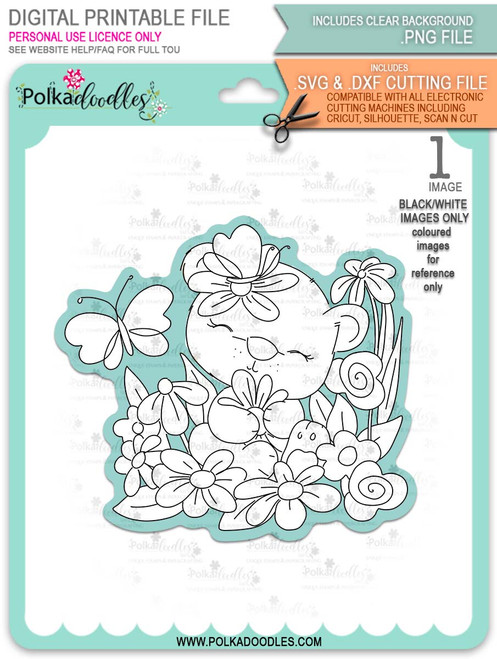 Bella Bear Daisy - printable downloads with free SVG /DXF files