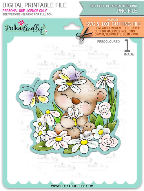 Bella Bear Daisy - PRECOLOURED printable downloads with free SVG /DXF files