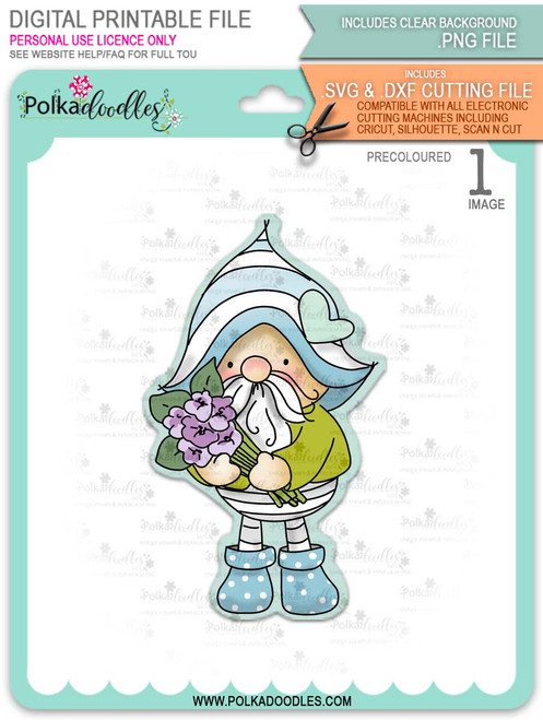 Gnome Bunch of Flowers - PRECOLOURED printable downloads with free SVG /DXF files