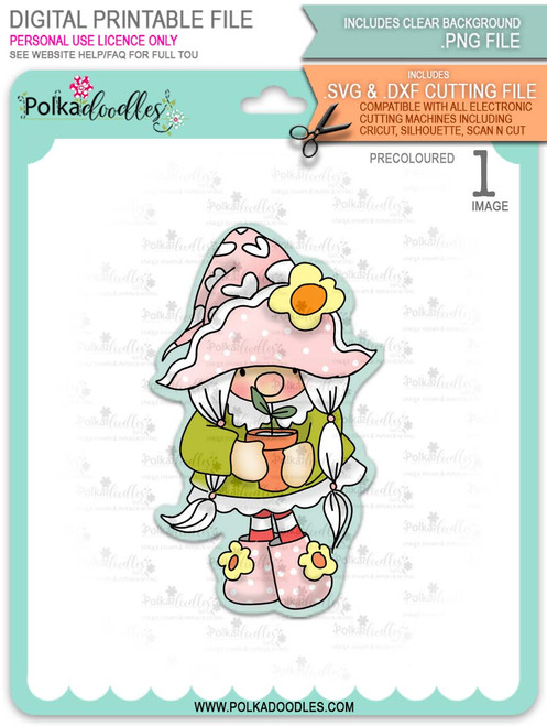 Gnome with Potted Plant - PRECOLOURED printable downloads with free SVG /DXF files