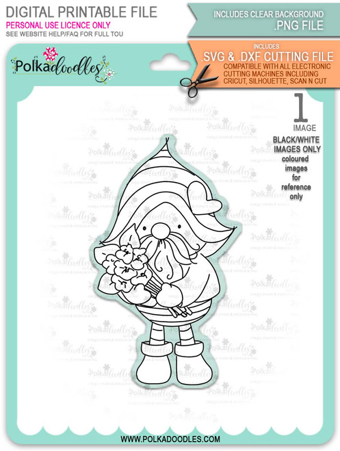 Gnome Bunch of Flowers - printable downloads with free SVG /DXF files