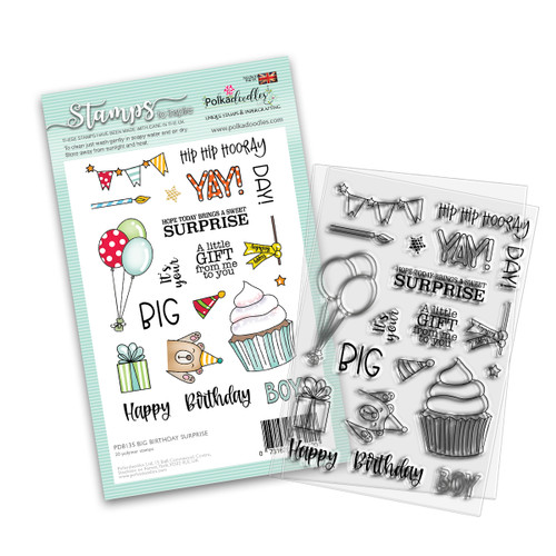 "BIG BIRTHDAY SURPRISE 4 x 6"" Clear Stamp Set"