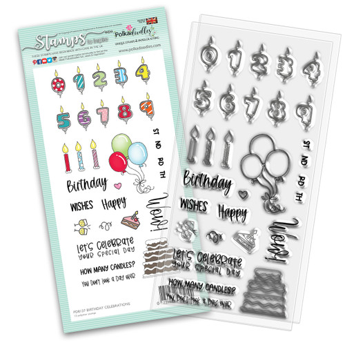 "BIRTHDAY CELEBRATIONS 4 x 8"" Clear Stamp Set (PD8137)"