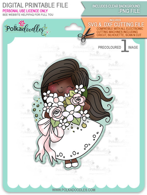 Blossoming -Winnie (precolored deep skintones)- printable downloads with free SVG /DXF files