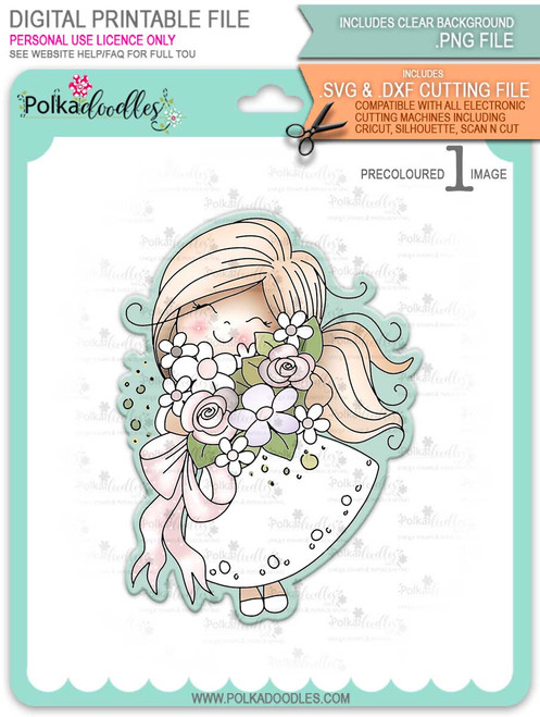 Blossoming -Winnie (precolored light skintones)- printable downloads with free SVG /DXF files