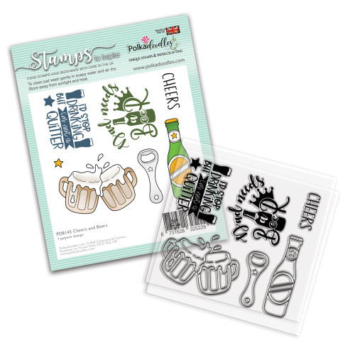 """Cheers and Beers 4 x 4"""" Men's themed Stamp set"""