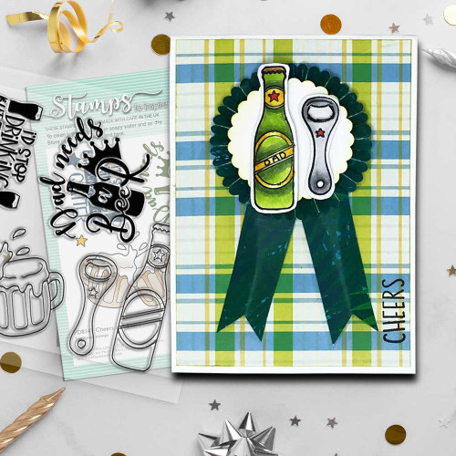 """Cheers and Beers mens card idea 4 x 4"""" Stamp set"""
