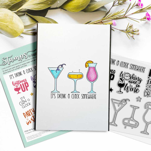 Bottoms Up - cocktail party celebration wine and prosecco theme card idea
