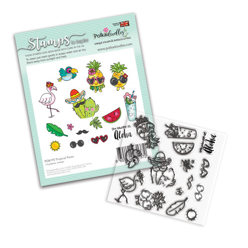 """Tropical Fever - holiday/vacation party themed 4 x 4"""" Stamp set"""