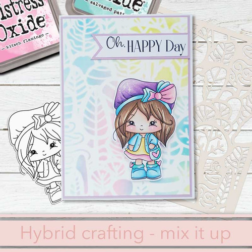 Out and About - Honeypie (black & white digi stamp)- printable downloads with free SVG /DXF files