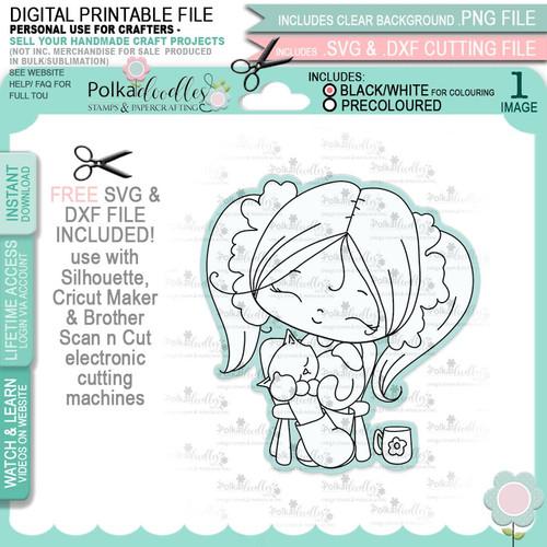 Cat Naps - Honeypie (black & white digi stamp)- printable downloads with free SVG /DXF files