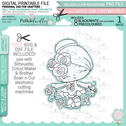Dancing Queen - Honeypie (black & white digi stamp)- printable downloads with free SVG /DXF files