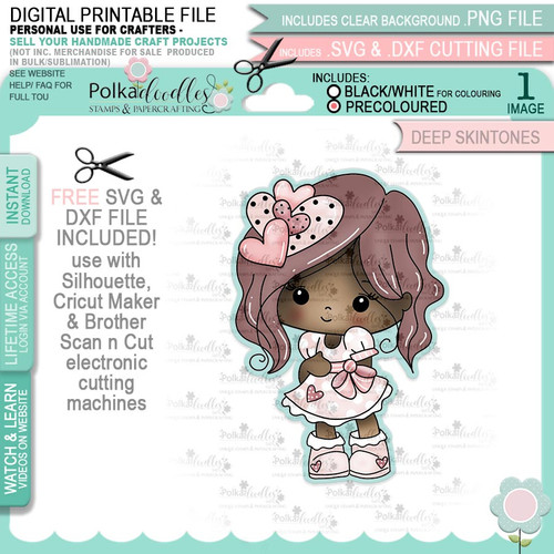 Just Lovely - Honeypie (precolored deep skintones)- printable downloads with free SVG /DXF files