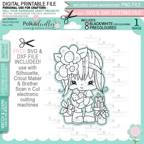 Stick with Me - Honeypie (black & white digi stamp)- printable downloads with free SVG /DXF files