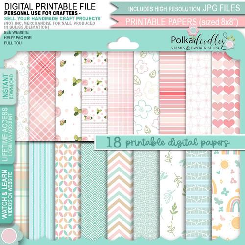 Just Lovely - Honeypie... 18 printable paper download bundle