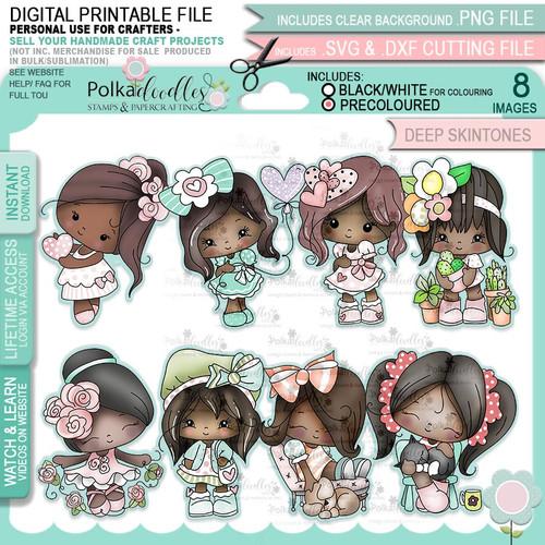 Just Lovely - Honeypie (deep skintones) printable digital stamp craft download bundle