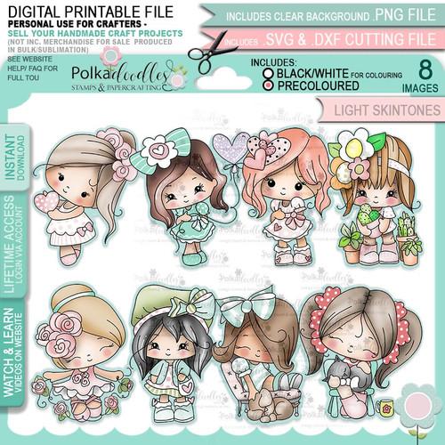 Just Lovely - Honeypie (light skintones) printable digital stamp craft download bundle