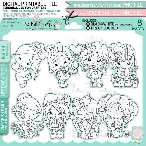 Just Lovely - Honeypie digital stamps - printable digital stamp craft download bundle