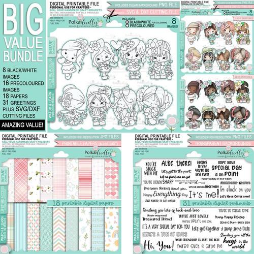 Just Lovely - Honeypie... big kahuna digital stamps, papers and greetings printable craft download bundle