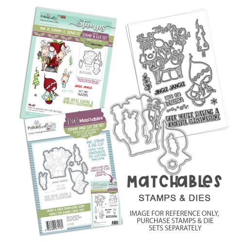 """Gnome Lets Get Blitzen 4 x 6"""" Matchables Stamp set"""