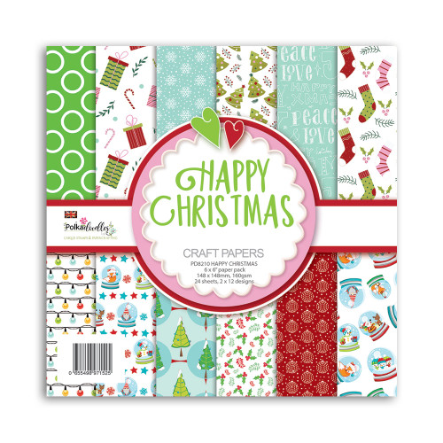 """Happy Christmas paper pack 6 x 6"""""""