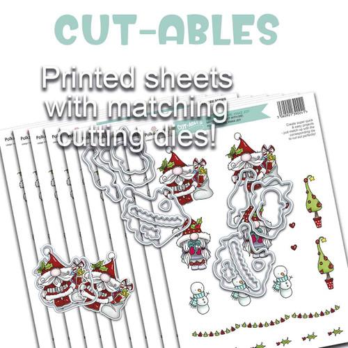 Cut-ables 10 printed sheets - Gnome Christmas Joy