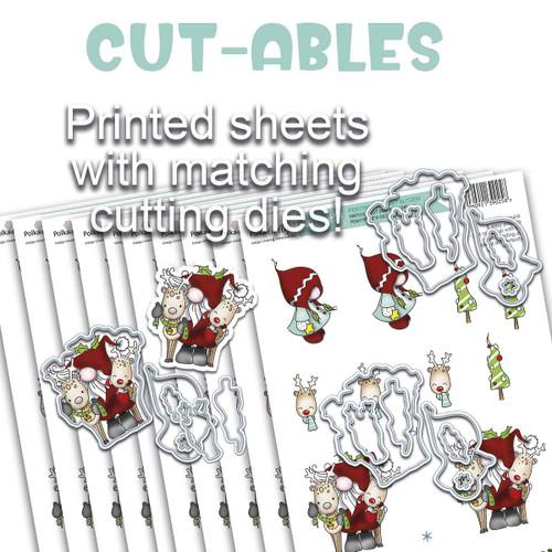 Cut-ables 10 printed sheets - Gnome Let's Get Blitzen