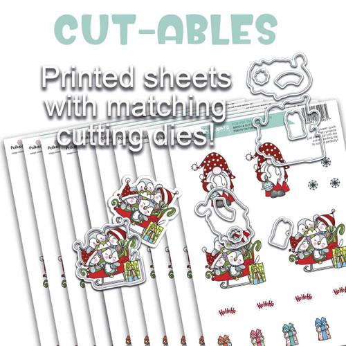 Cut-ables 10 printed sheets - Gnome Tis the Season