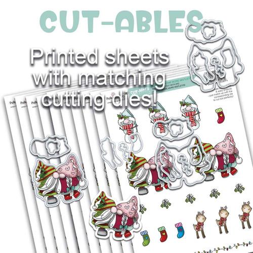 Cut-ables 10 printed sheets - Gnome Mistletoe