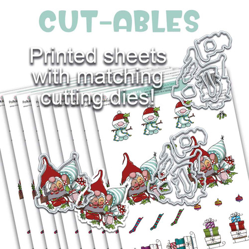 Cut-ables 10 printed sheets - Gnome Tinsel in a Tangle
