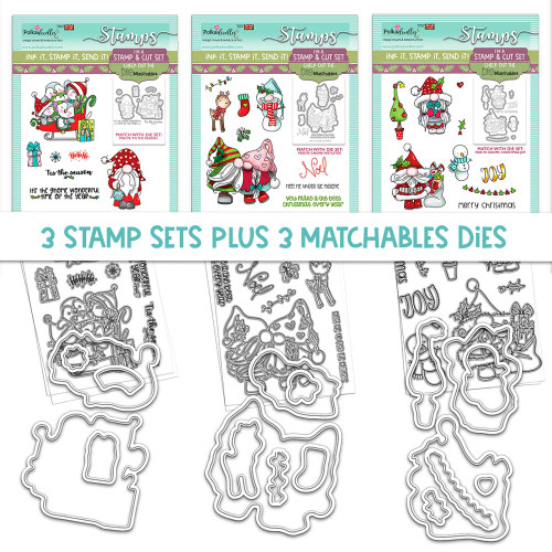 GNOME-AZING CHRISTMAS - 3 MATCHABLES SETS OF STAMPS & DIES, OPTION 1