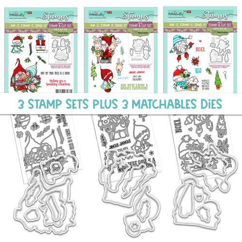 GNOME-AZING CHRISTMAS - 3 MATCHABLES SETS OF STAMPS & DIES, OPTION 2
